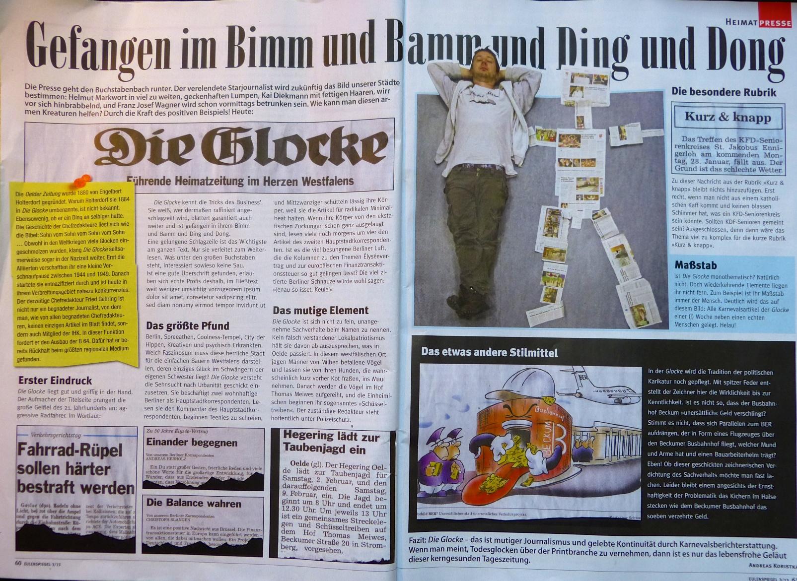 Deutschlands größtes Satiremagazin widmet sich der »Glocke«