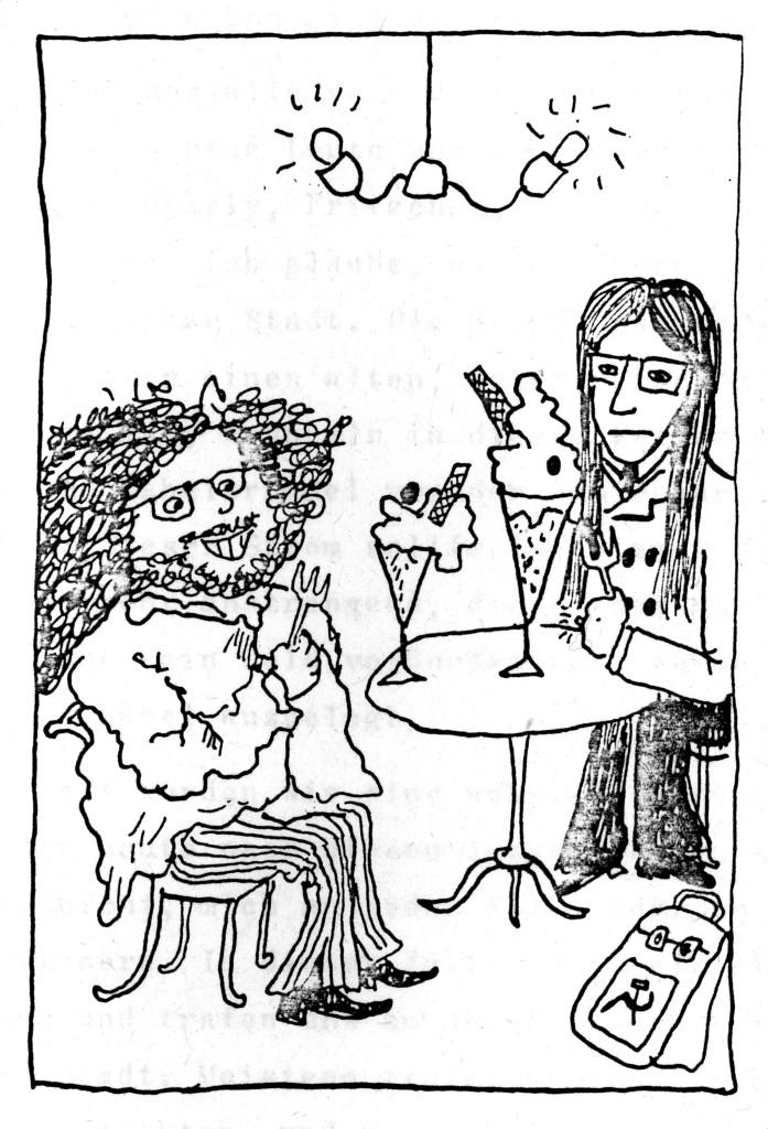 Molins Eisdiele in wilden Hippiezeiten aus der Sicht eines Oelder Karikaturisten