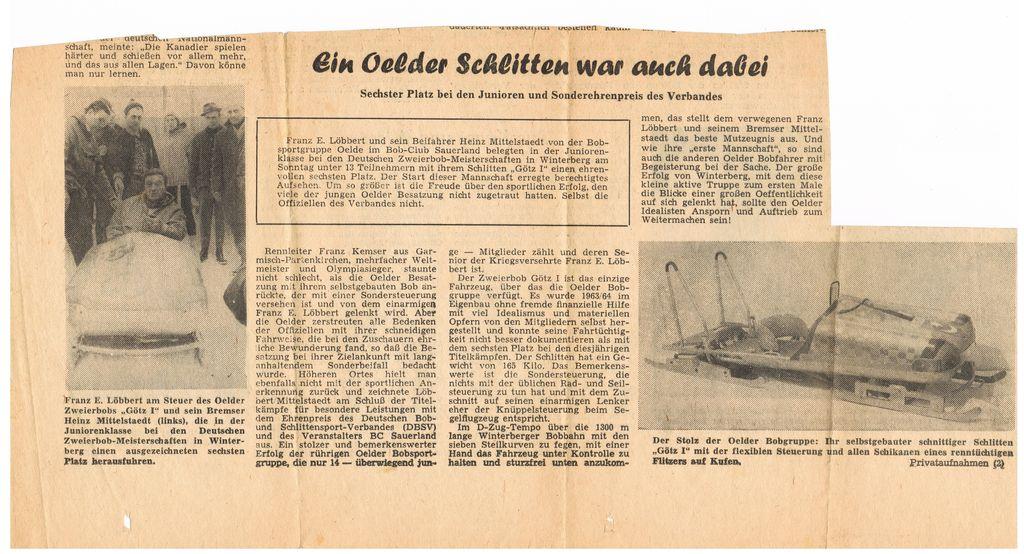 Selbst in die Presse schaften es die Bobpiloten in den 60ern aus Oelde
