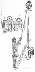 Ein Gasmann entzündet eine Lampe in den Straßen von Oelde